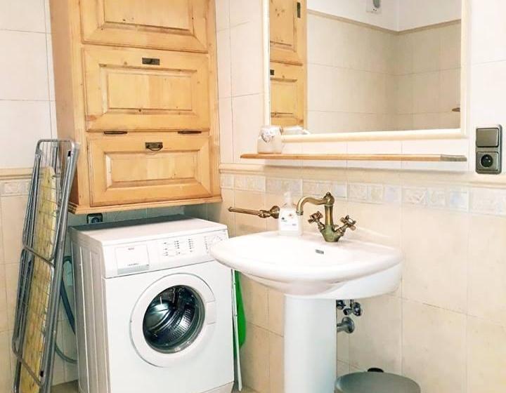 Koupelna na apartmánu s pračkou, žehličkou a žehlícím prknem