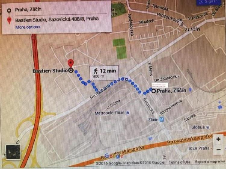 Cesta pěšky od metra Zličín